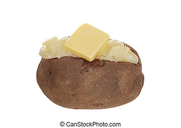 isolated baked potato with butter
