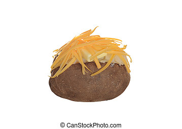 isolated baked potato with cheese