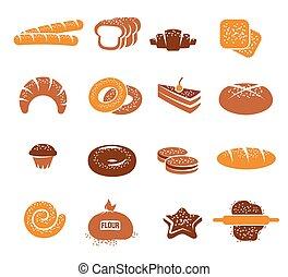 Isolated Bakery Icons Colorful Set