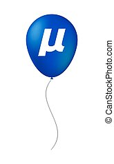 Isolated balloon with a micro sign, mu greek letter -...