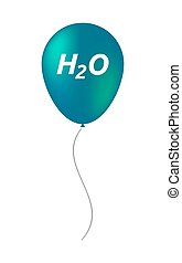 Isolated balloon with the text H2O