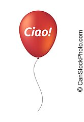 Isolated balloon with  the text Hello! in the Italian language