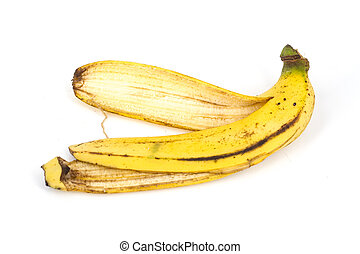 isolated banana peel on white background