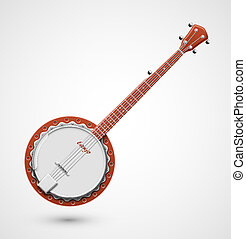 Isolated banjo, musical instrument, eps 10