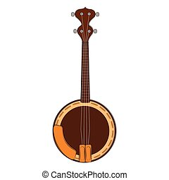 Isolated banjo sketch. Musical instrument
