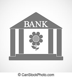 Isolated bank icon with a flower
