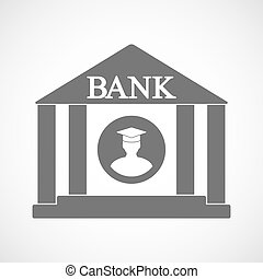 Isolated bank icon with a student - Illustration of an...