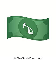 Isolated bank note with a horsehead pump - Illustration of...
