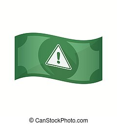 Isolated bank note with a warning signal