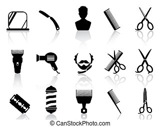 isolated barber tools and haircut icons set from white background
