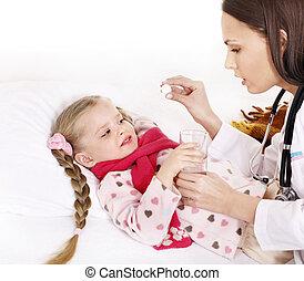 isolated., barn, holde, syg, medicine.