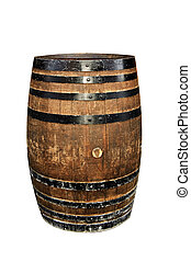 isolated barrel - isolated wood barrel on a white background