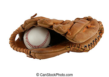 Isolated baseball glove with ball