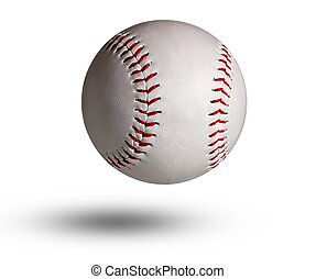 Isolated baseball on a white background and red stitching.