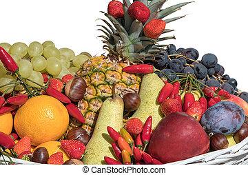 isolated basket of fruit on white background
