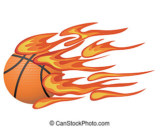 basketball with flame