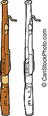Drawing of isolated bassoon over white background