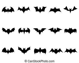 bat icons - isolated bat icons from white background