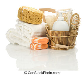 isolated bathing accessories