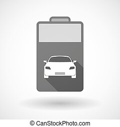 Isolated battery icon with a car