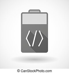 Isolated battery icon with a code sign