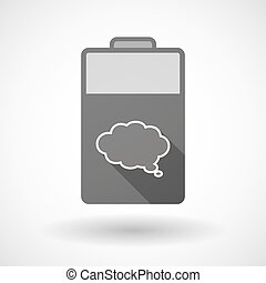 Isolated battery icon with a comic cloud balloon