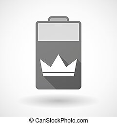 Isolated battery icon with a crown