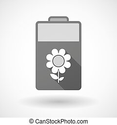 Isolated battery icon with a flower