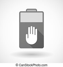 Isolated battery icon with a hand