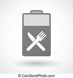 Isolated battery icon with a knife and a fork