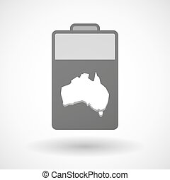 Isolated battery icon with a map of Australia