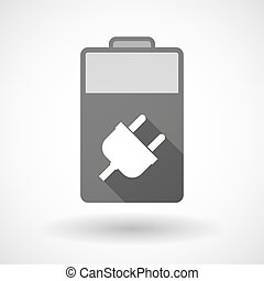 Isolated battery icon with a plug