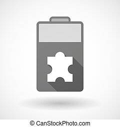 Isolated battery icon with a puzzle piece