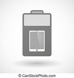 Isolated battery icon with a tablet computer