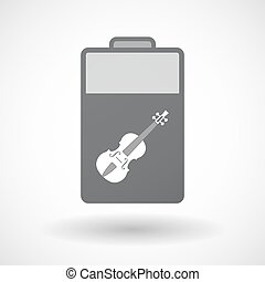 Isolated battery icon with  a violin