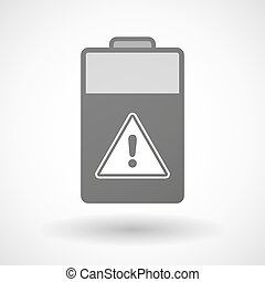 Isolated battery icon with a warning signal
