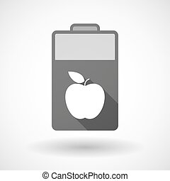 Isolated battery icon with an apple