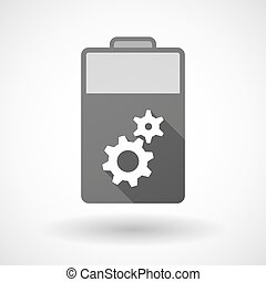 Isolated battery icon with two gears