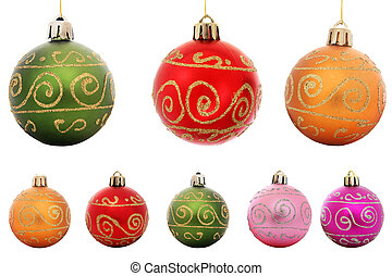 Isolated Baubles - Selection of isolated Christmas baubles ...
