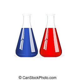 isolated beakers - illustration of chemistry beaker with...