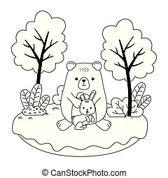Isolated bear and rabbit cartoon vector design