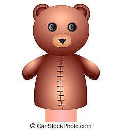 Isolated bear puppet