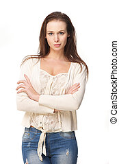 Isolated Beautiful Young Woman with Crossed Arms
