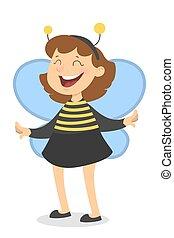 Isolated bee girl.