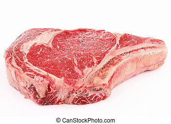 isolated beef rib - isolated raw beef rib on white