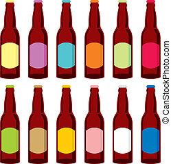 fully editable vector illustration of beer bottles
