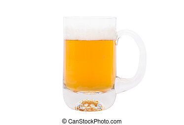 Pint of Beer on White background.