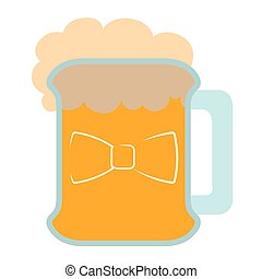 Isolated beer with a bowtie icon