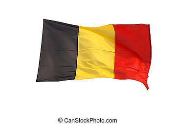 Isolated belgian flag with clipping path, black, yellow and red