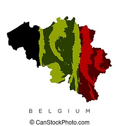 Isolated Belgian map with its flag, Vector illustration